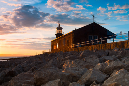 great bay: Old lighthouse on the pier in Moracambe, Morecambe Bay, Great Britain