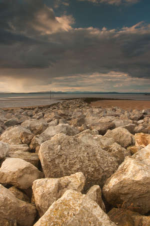 great bay: Sunset on the beach in Morecambe Bay, Moracambe, Great Britain