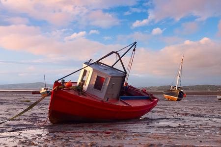 great bay: Fishing boats in Morecambe Bay, Morecambe, Great Britain Stock Photo
