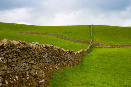 dales: Typical dry stones wall on the pasture in Yorkshire Dales, Great Britain