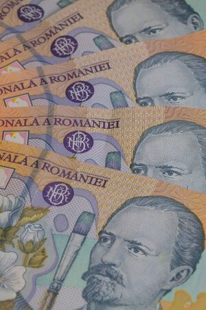lei: Different Romanian Lei Banknotes on the table