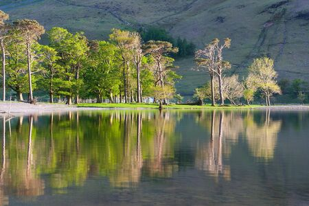 lake district: Reflection on the Buttermere Lake, Lake District, Great Britain