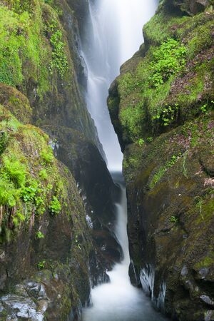 cumbria: Famous Aira Force waterfall on Aira Beck river in Lake District, Cumbria, Great Britain