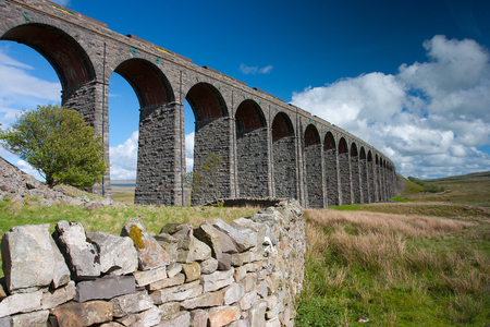 dales: Famous Ribblehead Viaduct in Yorkshire Dales National Park,Great Britain