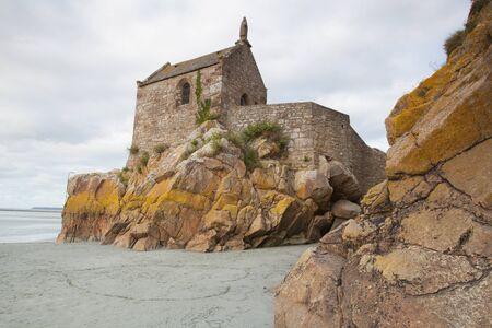 mont saint michel: Low tide at the abbey of Mont Saint Michel, Normandy, France Stock Photo