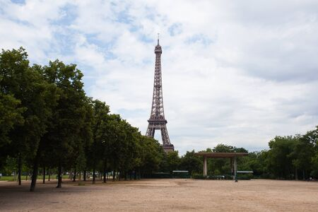 recollection: Eiffel tower in Paris. View from the empty city park Stock Photo