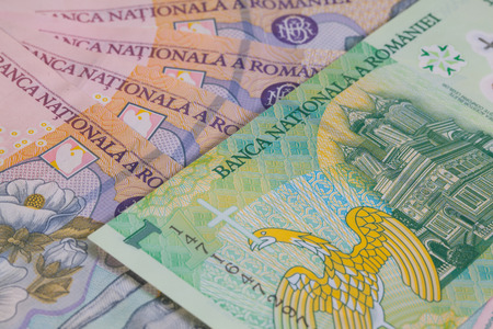 romanian: Different Romanian Lei Banknotes on the table