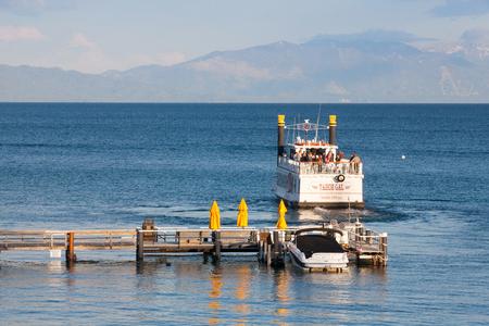 south lake tahoe: Lake Tahoe, USA - July 16,2011: Paddle wheel boat on a lake Tahoe