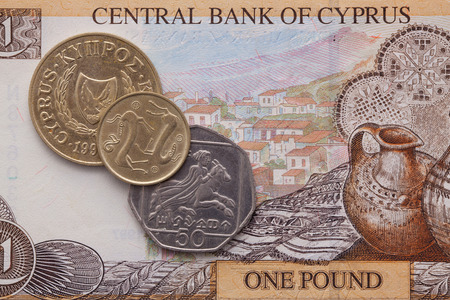 numismatic: Different banknote and coins of  Pound  of Cyprus