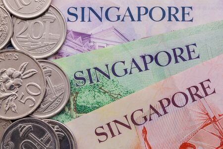 numismatic: Detail of Singapore banknotes and coins, close-up