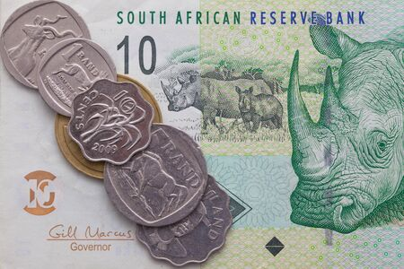rand: Different banknote and coins of  Rand of South Africa