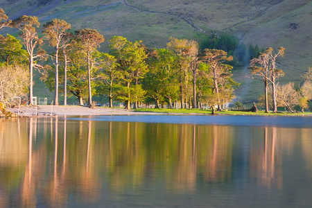 peacefull: Reflection on the Buttermere Lake, Lake District, Great Britain