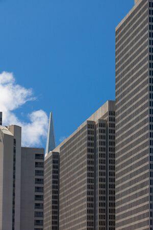 transamerica: Peak of skyscraper - Transamerica Pyramid building in the financial district of San Francisco. Stock Photo