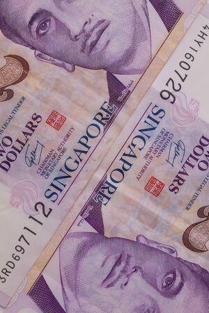profiting: Detail of Singapore banknotes , close-up
