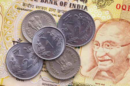 indian money: Different banknotes and coins  of Indian Rupee