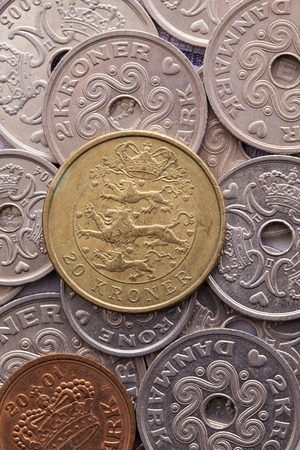 profiting: Different coins of Danish Krone Stock Photo