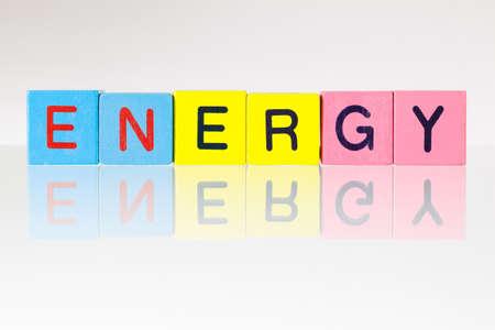 kilowatt: Energy - an inscription from childrens wooden blocks