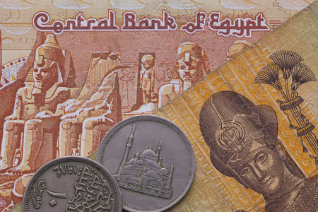 Different banknotes and coins of Egyptian Pound