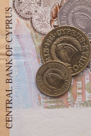 profiting: Different banknote and coins of  Pound  of Cyprus