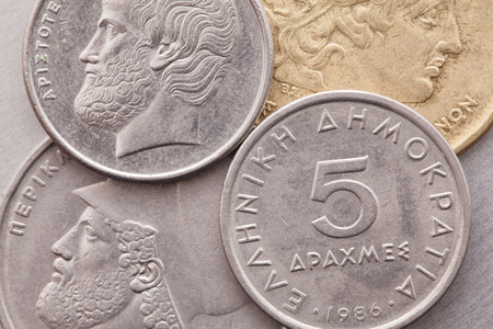 greek coins: Different coins of old Greek Drachma
