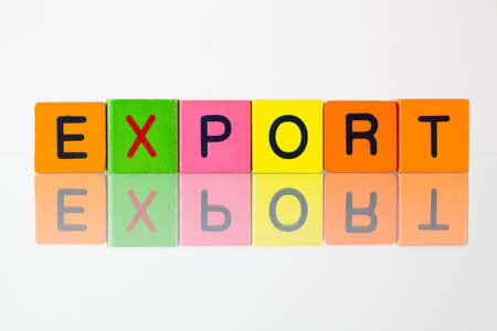 headquaters: Export - an inscription from childrens wooden blocks