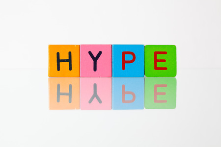 hype: Hype - an inscription from childrens wooden blocks