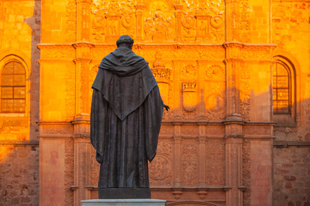 abbeys: The priest statue in front of the New Cathedral of Salamanca, Spain