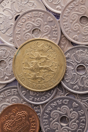 numismatic: Different coins of Danish Krone Stock Photo