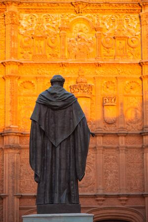 The priest statue in front of the New Cathedral of Salamanca, Spain