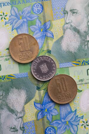 lei: Different banknotes and coins  of Romania Lei Stock Photo