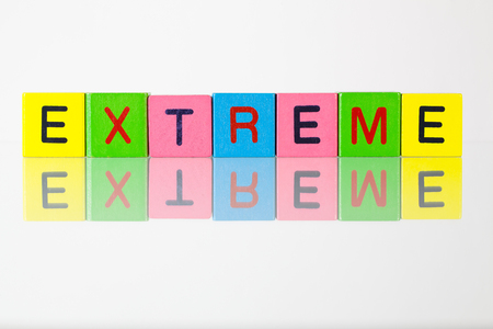 fanaticism: Extreme - an inscription from childrens wooden blocks