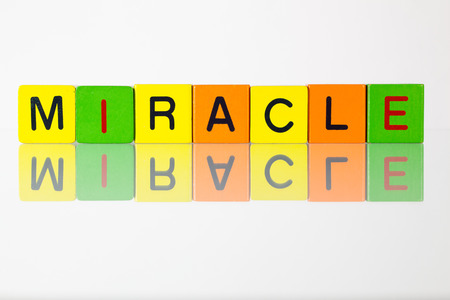 Miracle - an inscription from childrens wooden blocks