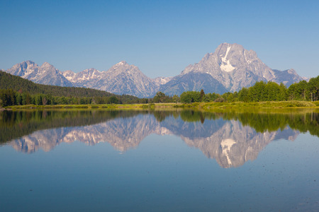 amazing stunning: View of the Grand Teton Mountains from Oxbow Bend on the Snake River. Grand Teton National Park, Wyoming, USA Stock Photo