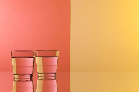 clearness: Glasses of water on the glass table