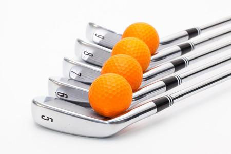 Titanium golf clubs on the white background Stock Photo