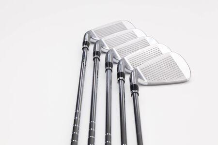 titanium: Titanium golf clubs on the white background Stock Photo