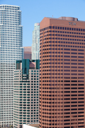 headquaters: Los Angeles - USA, July 2, 2012: The financial district  in Los Angeles. The Financial District is a neighborhood in Downtown Los Angeles south of the Bunker Hill district. Editorial