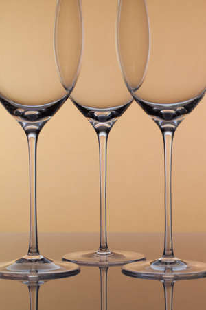 oenology: Three empty glasses of wine on a clean background