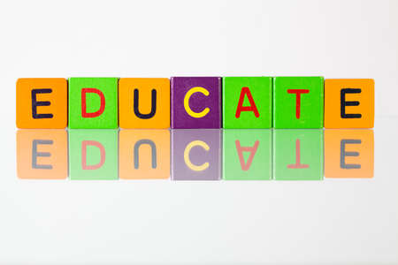 Educate - an inscription from childrens wooden blocks