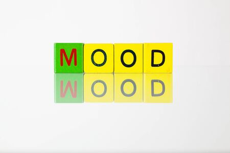 mental object: Mood - an inscription from childrens wooden blocks