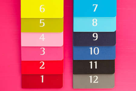 twelve: Twelve different color diaries on a pink wooden table Stock Photo