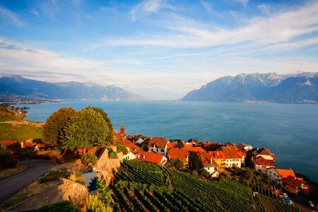 leman: Sunset on vineyards of the Lavaux region over lake Leman (lake of Geneva), Switzerland - HDR Image Stock Photo