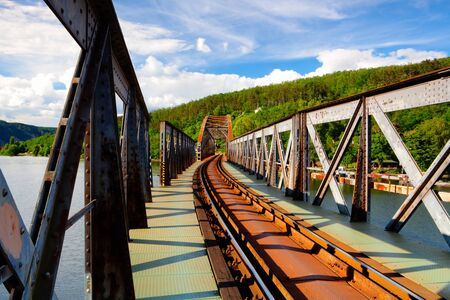 single track: Single track railway bridge over the Vltava river, Czech Republic - HDR Image Stock Photo