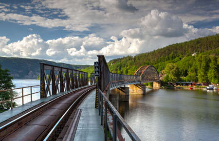 single track: Single track railway bridge over the Vltava river, Czech Republic