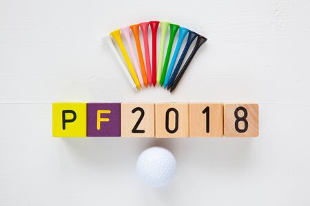 pour feliciter: P.F.2018 - an inscription from childrens wooden blocks and golf ball and wooden tees - Flat Lay Photography