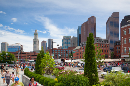 eyesore: BOSTON,MASSACHUSETTS,USA - JULY 2,2016: The North End Parks on the Rose Kennedy Greenway have reconnected Boston. Green space has been created in an area that was formerly an eyesore.