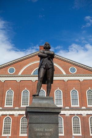 adams: BOSTON,MASSACHUSETTS,USA - JULY 15,2016: Statue of Revolutionary Patriot, Samuel Adams, 1722-1803, in front of historic Faneuil Hall, Boston, MA