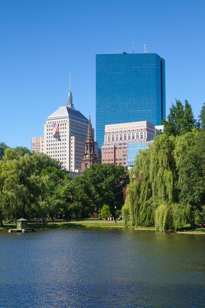 BOSTON,MASSACHUSETTS,USA - JULY 2,2016: The Public Garden founded 1837.Also known as Boston Public Garden, is a large park located in the heart of Boston, Massachusetts, adjacent to Boston Common.