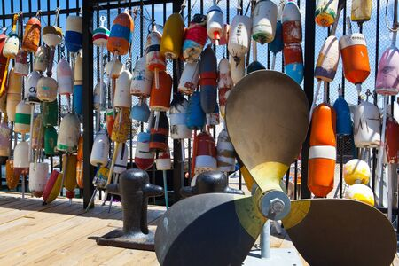crab pots: These different brightly colored floats are used to mark crab pots and help float off shore fishing nets Stock Photo