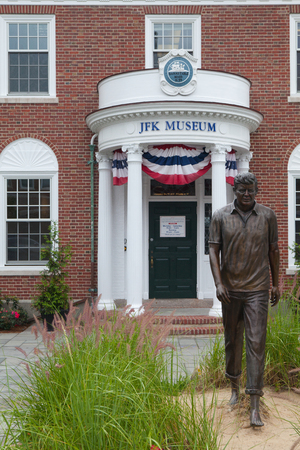 archival: BOSTON,MASSACHUSETTS,USA - JULY 12,2016:  The John F. Kennedy Hyannis Museum is a historical museum located at 397 Main Street Hyannis, Massachusetts.